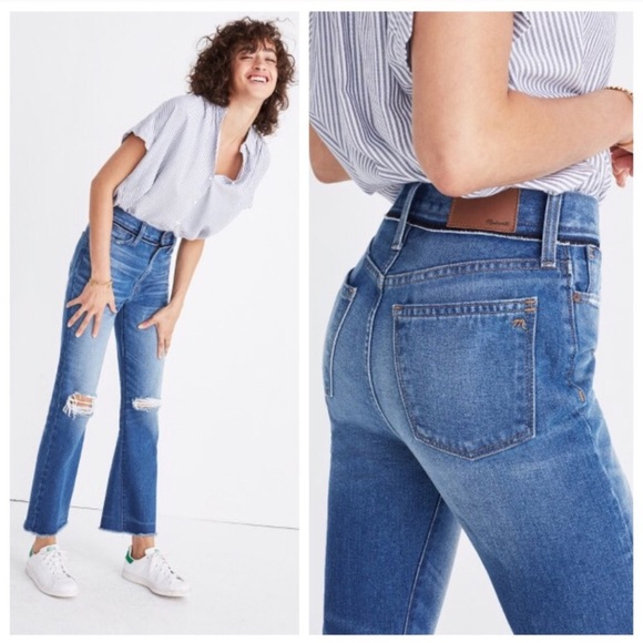 490f478418a Madewell Jeans   Retro Crop Bootcut Ripped Knee   Poshmark